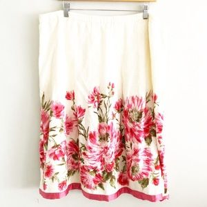J Jill Womens Linen Painted Roses A-Line Skirt